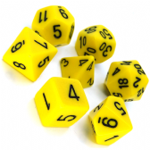 Yellow & Black Opaque Polyhedral 7 Dice Set